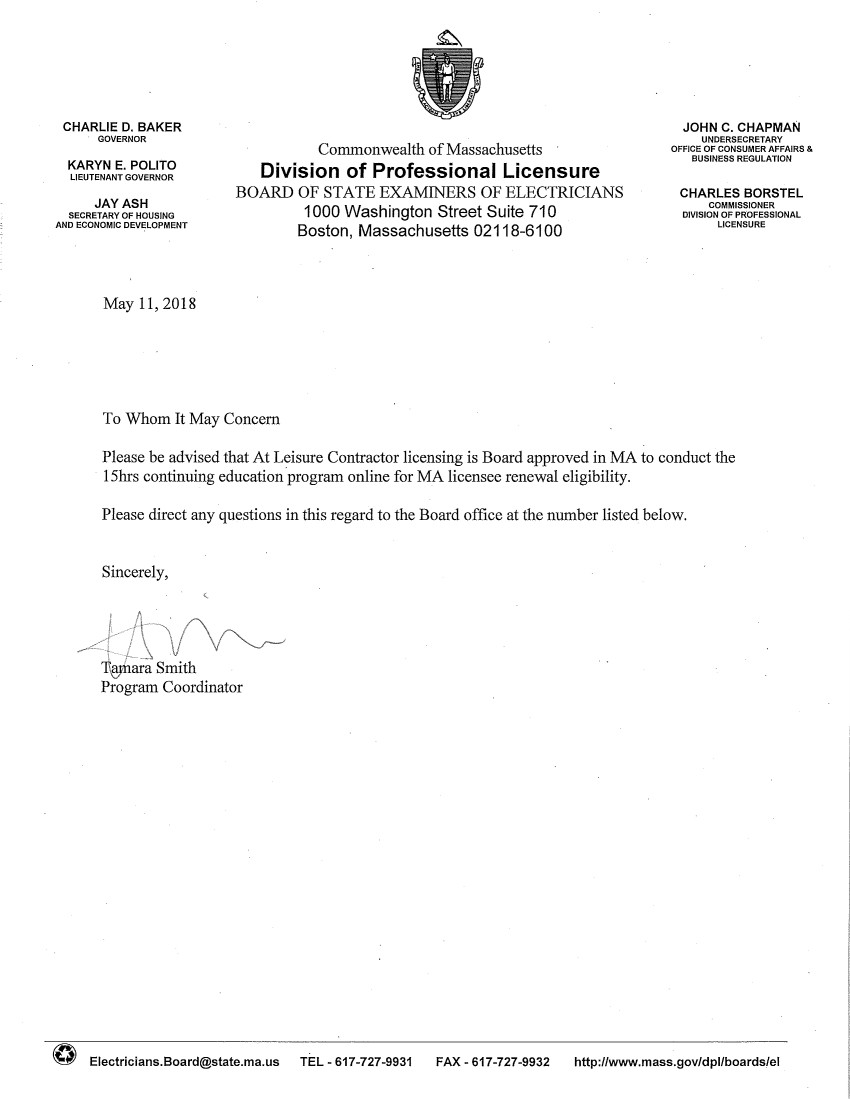Ma Division Of Professional Licensure >> Massachusetts Certicates Of Approval At Leisure Contractor Licensing